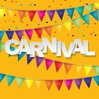 Banner de carnaval con banderines y globos voladores. vector