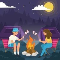 Couple Having Night Camping vector
