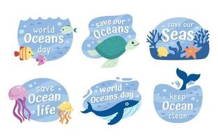 World Oceans Day Quotes vector