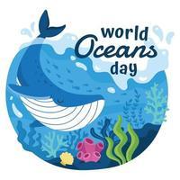 campaña del día mundial de los océanos vector