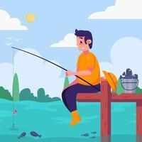 Summer Activity Fishing on Lake vector