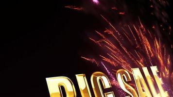 texte d'or de grande vente avec feux d'artifice video