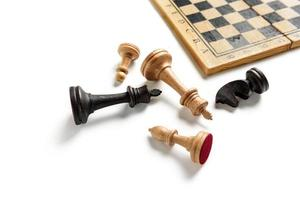 Chess pieces close up on a white background with copy space photo