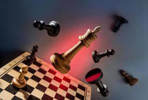 The chess queen breaks the defense of the black pieces photo