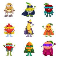 Collection of fruit superheroes vector