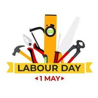 1 May Happy labour day background with working tools vector