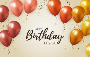 Fondo de cumpleaños feliz fiesta con marco de globos realistas y confeti vector