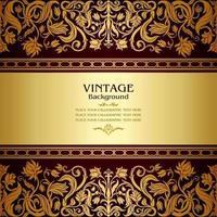 floral antique card victorian gold ornament baroque vector