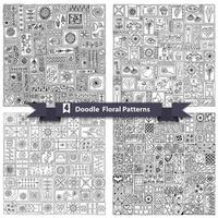 Set of seamless geometric floral doodle pattern vector