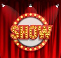 Realistic Show announcement board with bulb frame on curtains background vector
