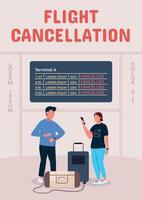 cartel de cancelación de vuelo plantilla de vector plano