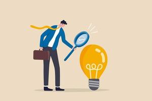 Validate startup idea that have potential to implement and success in real life analyze and choose best business idea concept smart businessman verify or validate light bulb idea and make approval vector