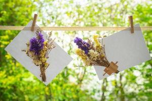 Flores secas de color púrpura y blanco y amarillo que decoran en el papel blanco recortado en la línea con fondo verde foto