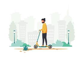 Man riding electric kick scooter Eco transport concept vector