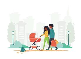 Black family with baby carriage walking in the park Outdoor activity vector