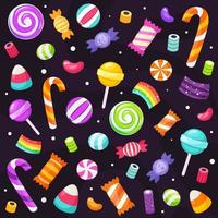 Halloween sweets and candies collection vector