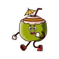 Cute coconut character jogging vector