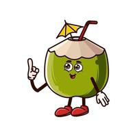 Cute coconut character with happy face and Gesture pointing up vector