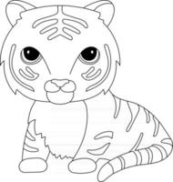 Tiger Kids Coloring Page Great for Beginner Coloring Book vector