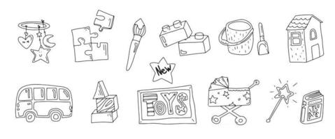 Toy doodle icons Baby and kid toys Icons for baby shop Different types of toys outline Vector illustration