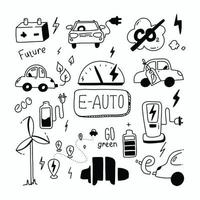 E car Doodle set Green energy and e Auto Sketch ecology transport Clean auto CO2 neutral Rechargeable car Emissions co2 Vector collection