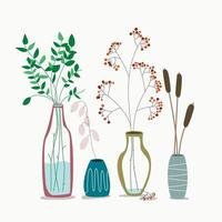 vase with dry flowers and plants Ceramic with died eucalyptus leaves vector