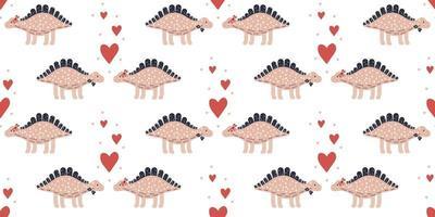 Seamless dinosaur couple pattern background vector