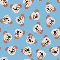 Seamless pattern with cute puppy face vector