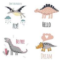 Cute dinosaur set vector