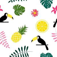 Tropic fruit Pineapple Toucan bird and palm leaf seamless pattern background design vector
