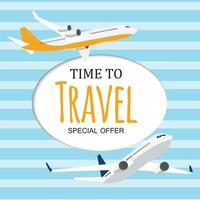 Time to Travel Template Background with Airplane vector