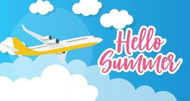 Hello Summer Template Background with Airplane vector