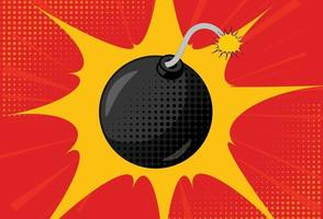 fondo con bomba en estilo pop art vector