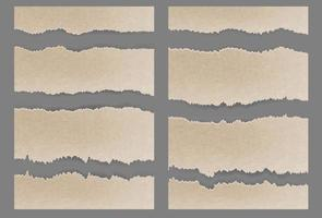 Torn ripped cardboard Textured set vector