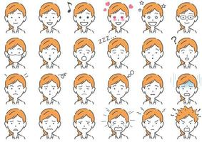 Businesswoman Vector Various Facial Expressions Set Isolated On A White Background