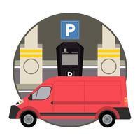 mini van mockup car vehicle in parking zone vector