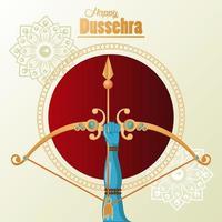 tarjeta de celebración feliz dussehra con mano y arco dorado vector