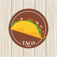 taco day celebration mexican poster in wooden background vector