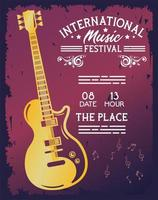 international music festival poster with electric guitar vector