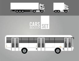 Iconos de vehículos de coches de maquetas de camiones y autobuses blancos vector