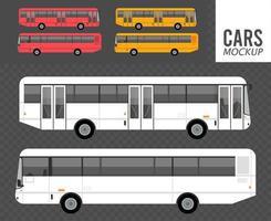 establecer colores autobuses maqueta coches vehículos iconos vector