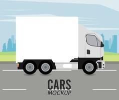 camión maqueta vehículo automóvil en el icono de la carretera vector