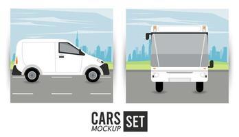 Mini furgoneta y maqueta de autobús iconos de vehículos de coches vector