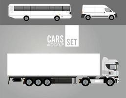 Camión blanco y autobús con iconos de vehículos de autos de maqueta de mini van vector