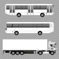 Iconos de vehículos de coches de maquetas de autobuses y camiones blancos vector