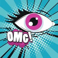 female eye with omg expression pop art style vector