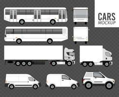Mockup de color blanco, vehículos de grupo de automóviles en fondo gris vector