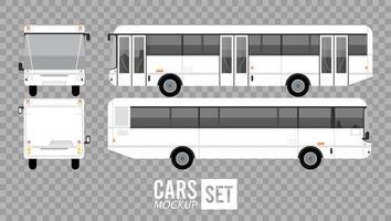 autobuses blancos maqueta coches vehículos iconos vector