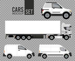 blanco, conjunto, maqueta, coches, vehículos, iconos vector