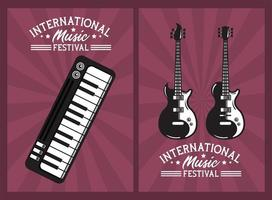 international music festival poster with electric guitars and piano vector
